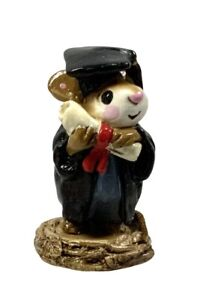 Wee Forest Folk M-058 Graduate Mouse Black Gown Diploma WFF RETIRED M-58