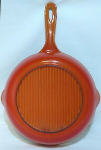 Vtg-Le-Creuset-Cast-Iron-Skillet-9-034-FLAME-Red-Orange-Ombre-EVC-23-Fry-Pan