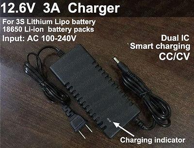 12.6V 3A Smart Adapter Charger for Li-ion Li-Po Lithium Battery Pack AC 100~240V