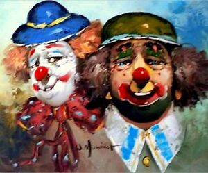 Details about Vintage Oil Painting on Canvas Circus Clowns by W Moninet