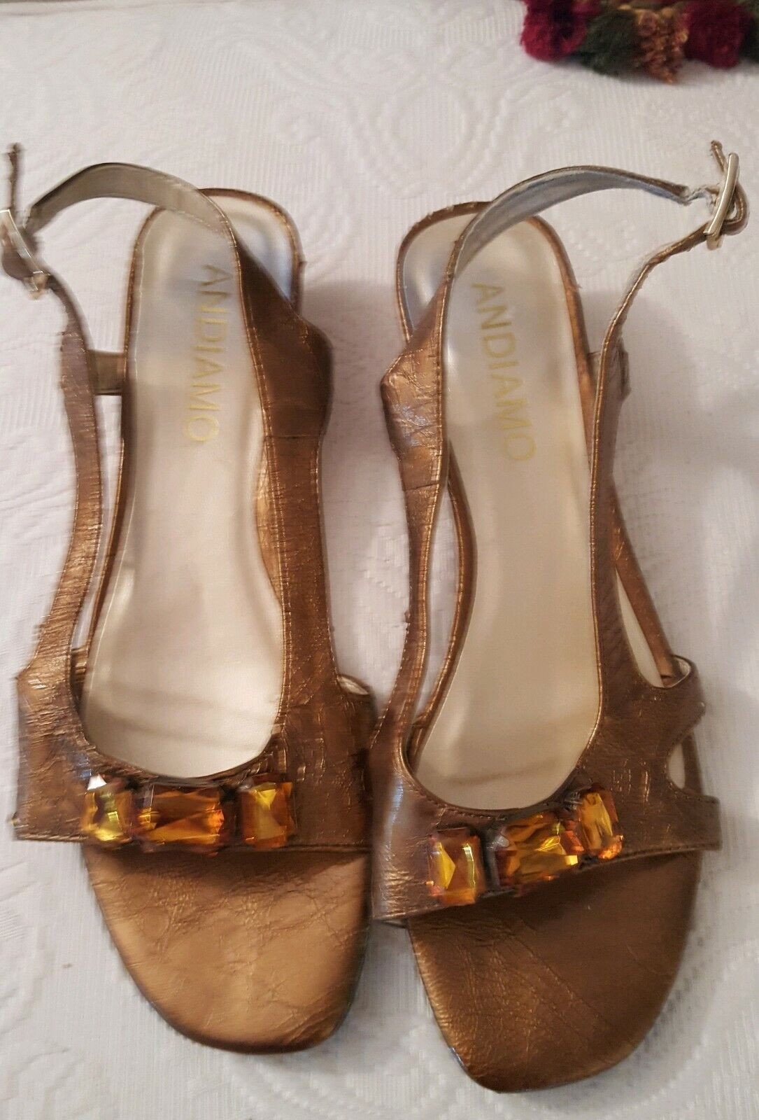 Chaussures Andiamo Sling-back fantaisie bronze Sandales Avec Jeweled Bordure Taille 7.5