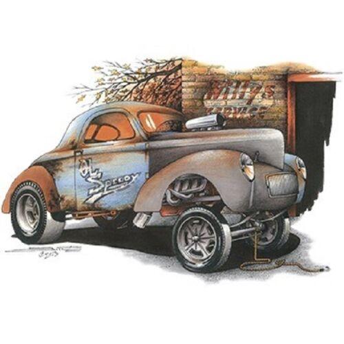 1941 Willys Gasser Drag Racer Ol Speedy Art by Brent Gill CHEST LOGO T SHIRT