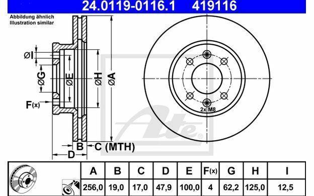 2x ATE Disques de Frein Avant Ventilé 256mm pour HYUNDAI GETZ 24.0119-0116.1