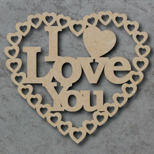 Large MDF I Love You Hearts Craft Wooden Shape Blank  15 20,25 30cm