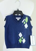 Kitestrings By Hartstrings Blue Argyle Sweater Vest, Baby Boy 6-9 Months $46
