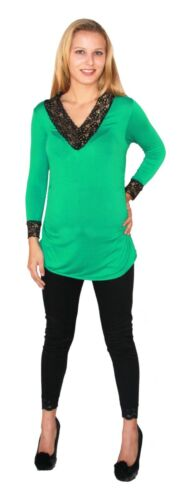 Green Gold Long Sleeve Royal Solid V-Neck Work Attire Black Lace Collar Open
