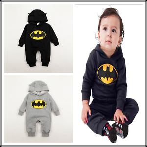 1a830d326281 Infant Baby Boys Batman Bodysuits Warm Winter Jumpsuit Hooded Baby ...