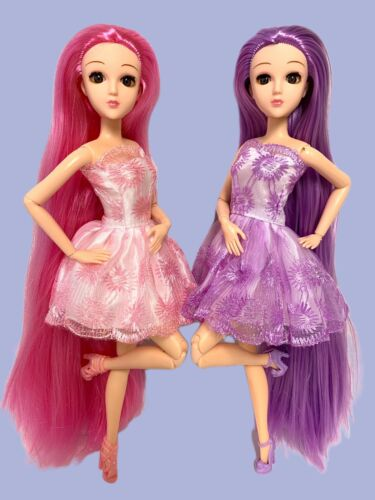 Posable Jointed Articulated Fashion Dolls Lot Twins 2 Longest Hair Pink Purple