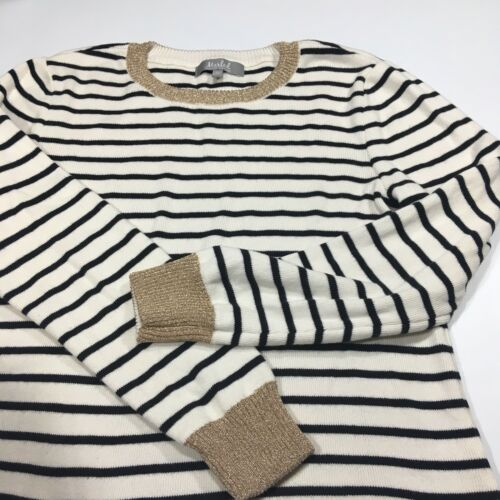 Cheap Marled Reunited Clothing Womens Large L Sweater Striped Black White Gold Shirt supplier