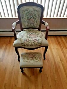 Antique Accent Chair And Footstool Tapestry Used Ebay