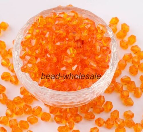 Wholesale 500pcs 4mm 6mm colorful Bicone Acrylic crystal beads.Choose color