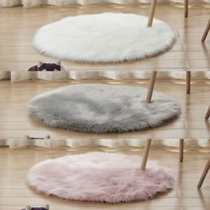 Fluffy Round Rug Artificial Wool Floor Carpet Home Decor For Bedroom