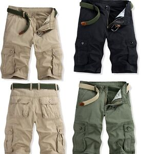 Casual Mens Summer Engineer 3/4 Cargo Pants Below Knee Army Combat ...