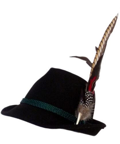 Trachtenhut nero con elegante grande molla