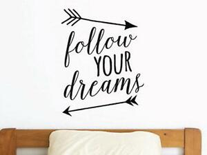 FOLLOW-YOUR-DREAMS-Arrows-Words-Lettering-Vinyl-Wall-Decal-Quote-Sticker-Room