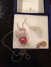 SWAROVSKI crystal swan signed Hello Kitty Pink 3-D Pendant Necklace 1141755