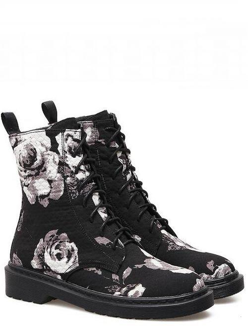 botas bajo zapatos botas militares 4 cm negro flores elegantes como piel 9465