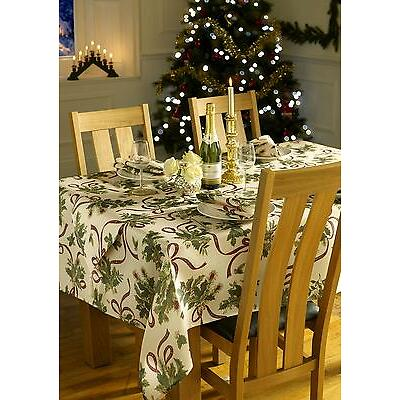 Holly Christmas Tablecloths,100 % Polyester, napkins& tablerunner avaliable