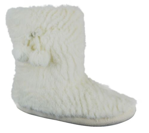 WOMENS WINTER WARM LINNED LADIES BOOTIE WHITE INDOOR ANKLE BOOTS NEW SIZE 3-10