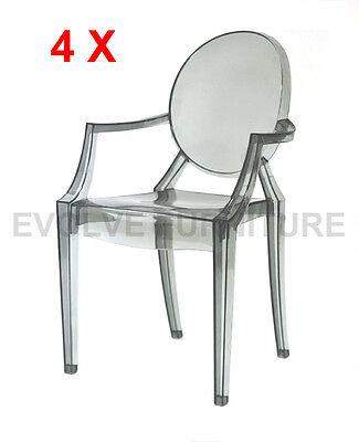Set of 4 Replica Louis Ghost Arm Chair Smoke (DC119)