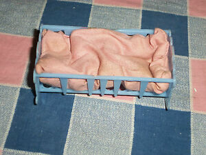 Vintage-Dollhouse-Miniatures-Allied-Made-in-USA-Blue-Cradle-3-1-8-Inch-Long
