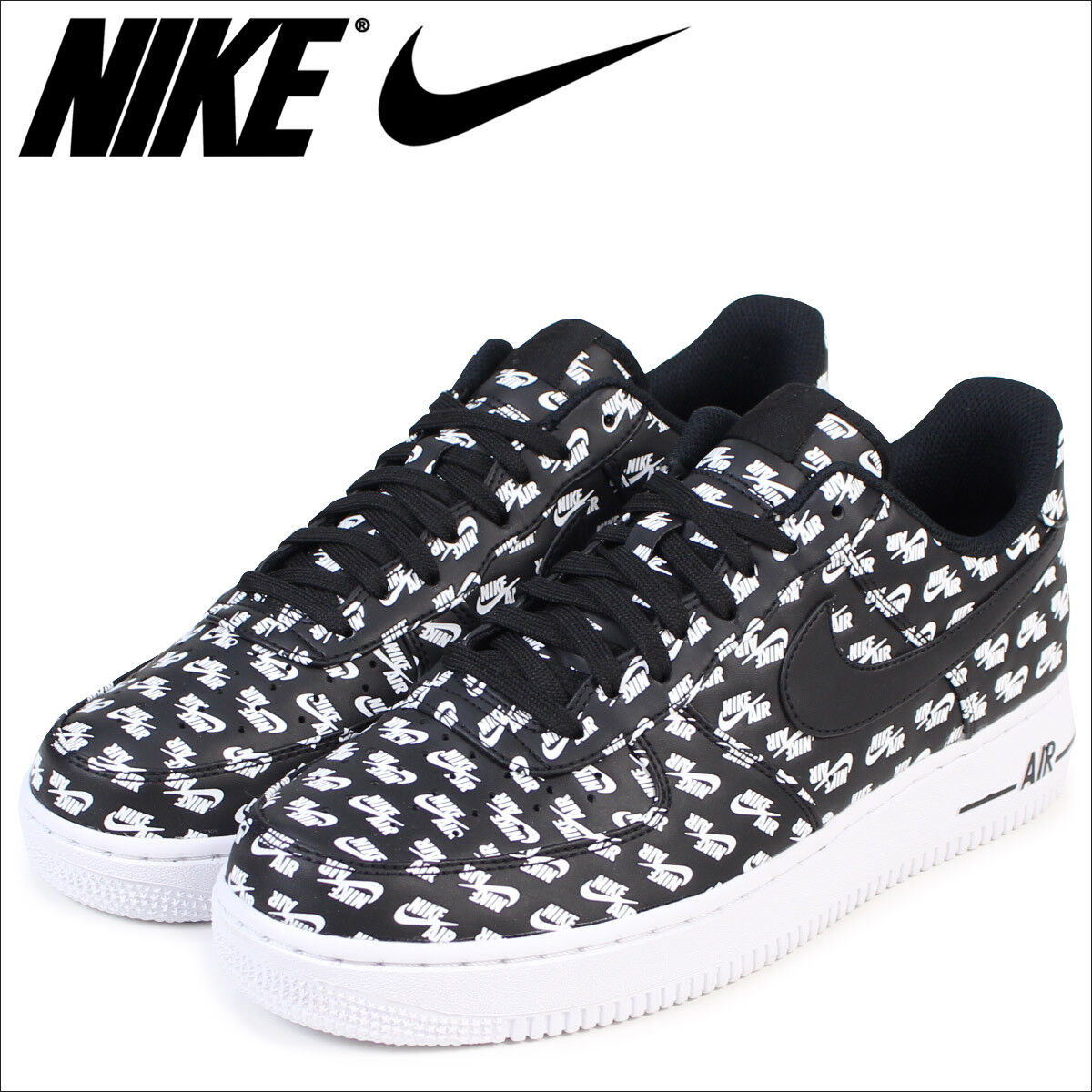 Nike Air Force 1 Low 07 QS All Over Logo Pack Black White AH8462-001 sz 10 shoes
