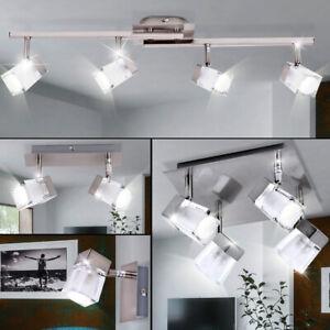 Details zu Decken Lampen Glas Würfel Spot Leuchten Wohnzimmer Chrom Wand  Strahler beweglich