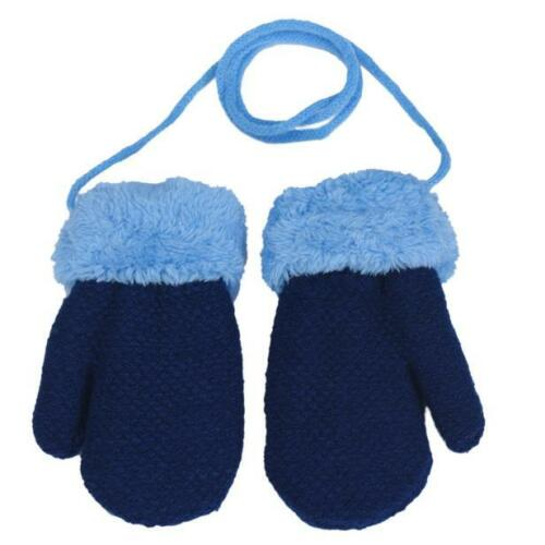 Winter Warm Newborn Baby Boys Girls Kids Thick Fur Gloves Neck String Mittens US