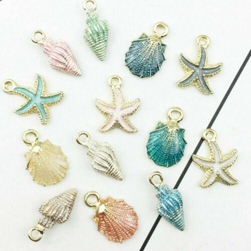 13 Pcs//Set Metal Starfish Conch Shell Charms Mixed Pendant DIY Jewelry Oranments
