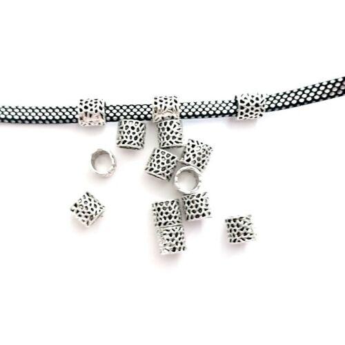50 Perles à Gros Trou Européen Colonne Fleurs Creuses Argent Antique 8mm