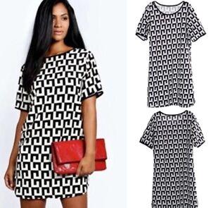 NEW Women's Dress S M Shortsleeve Black White Sheer NWOT summer geometric patter