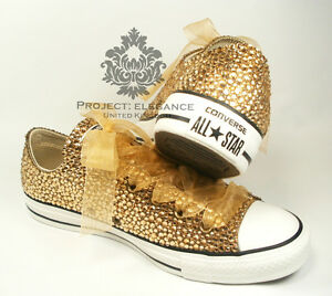 GOLD WEDDING CONVERSE Bling Crystal Rhinestone Low Converse Organza Ribbon Laces
