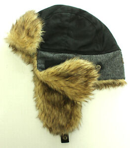 ad014ecef78 New Mens Levis Black Gray Faux Fur Aviator Trapper Hat One Size