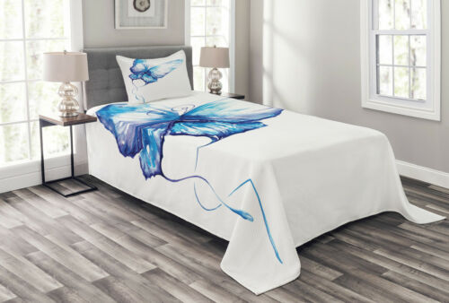 Details about  /Watercolor Quilted Bedspread /& Pillow Shams Set Nature Inspired Soft Print