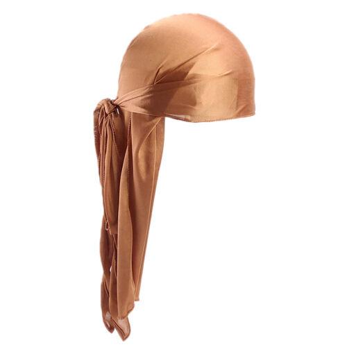 New Unisex Men Women Turban Hat Doo Durag Headwear Headband Soft Silk Pirate Cap