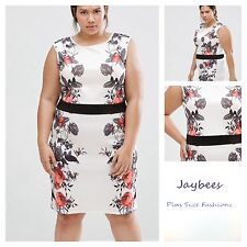 Praslin @ Simply Be Size 16 White Rose Print Illusion DRESS Summer Be Party £40