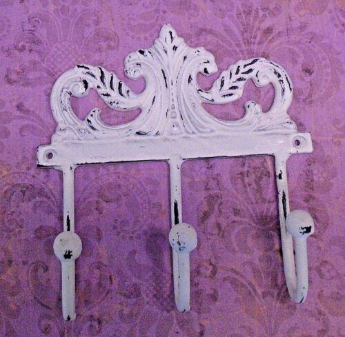 Shabby Chic Decorative 3-Hook Key Hanger Whitewash w//Ornate Scroll Design