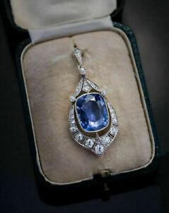 5Ct-Blue-Sapphire-amp-Round-Diamond-Vintage-Art-Deco-Pendant-14k-White-Gold-Finish