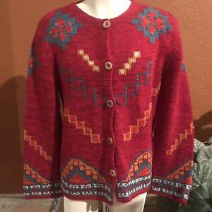 Women-s-THE-TERRITORY-AHEAD-Cardigan-Sweater-Sz-Large-Wool-amp-Silk-Red-Aztec-NWT