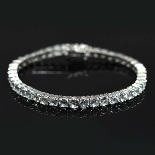 Details about  /11 Cts Round Cut Natural Aquamarine Gemstone 925 Sterling Silver Tennis Bracelet