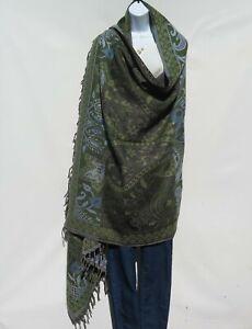 Yak-Sheep-Wool-Flora-Shawl-Throw-Wrap-Handloomed-Reversal-Base-Color-Khaki