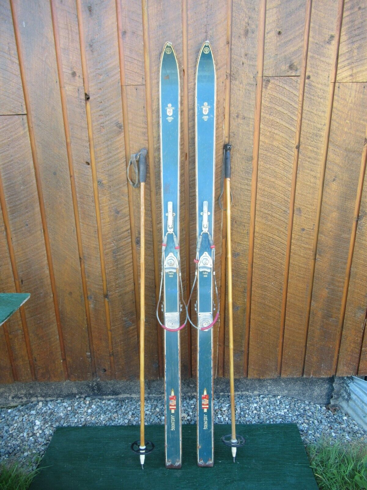 VINTAGE 65   Wooden Skis blueE Finish Signed ARLBERG with Bindings + Poles  wholesape cheap