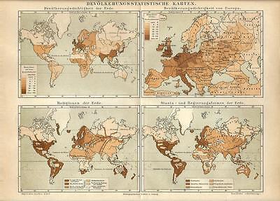 Cartina Geografica Delle Religioni Nel Mondo.Carta Geografica Antica Demografia E Religioni Nel Mondo 1890 Old Antique Map Ebay
