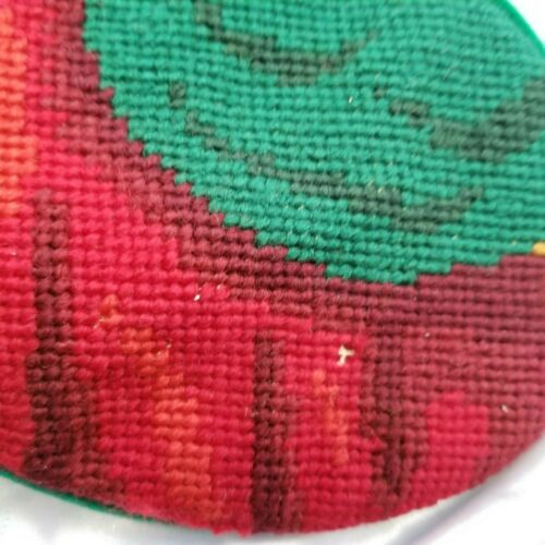"""Vintage African American Wool Needle Point Lined Christmas Stocking 17/"""""""