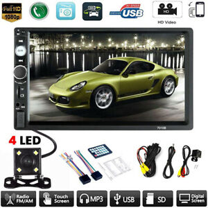 Car-MP5-Player-7-034-Double-2DIN-Bluetooth-Touch-Screen-Stereo-Radio-USB-AUX-Camera