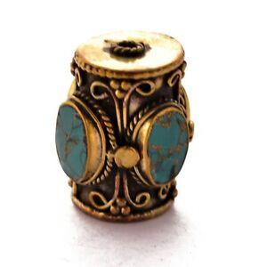 Turquoise-Focal-Brass-Bead-Tibetan-Nepalese-Ethnic-Tribal-Handmade-Nepal-BD04a
