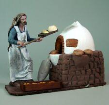 Belenes Puig Krippenfigur Bäcker mit Backofen. Aus Ton, kaschierter Stoff, 12 cm