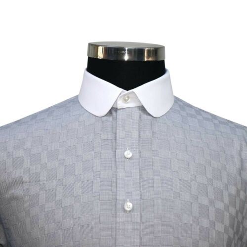 Details about  /Peaky Blinders Mens shirts Penny collar Olive Green Grey tile Grandad Round Club