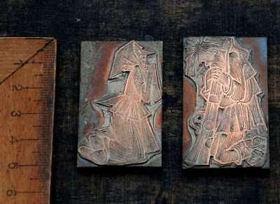 2 X Galvano Druckplatte Klischee Eichenberg Printing Plate Copper Mann Frau Hexe