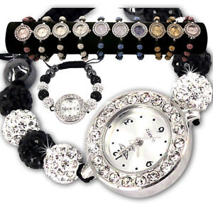 LADIES-SPARKLING-SHAMBALLA-WATCH-CRYSTAL-DISCO-BALL-BLING-DIAMANTE-BRACELETS-SE